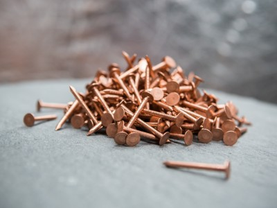 Pile of cooper nails for roofing
