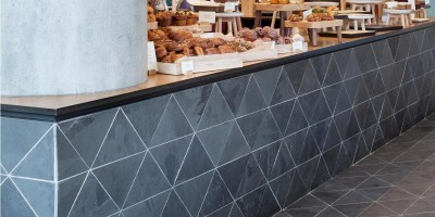 Close up of slate tiles used within Gails Artisan Bakery