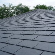 Close up of slate roof with clouds and trees