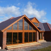 Welsh Heather Blue Roof Tiles on house during construction