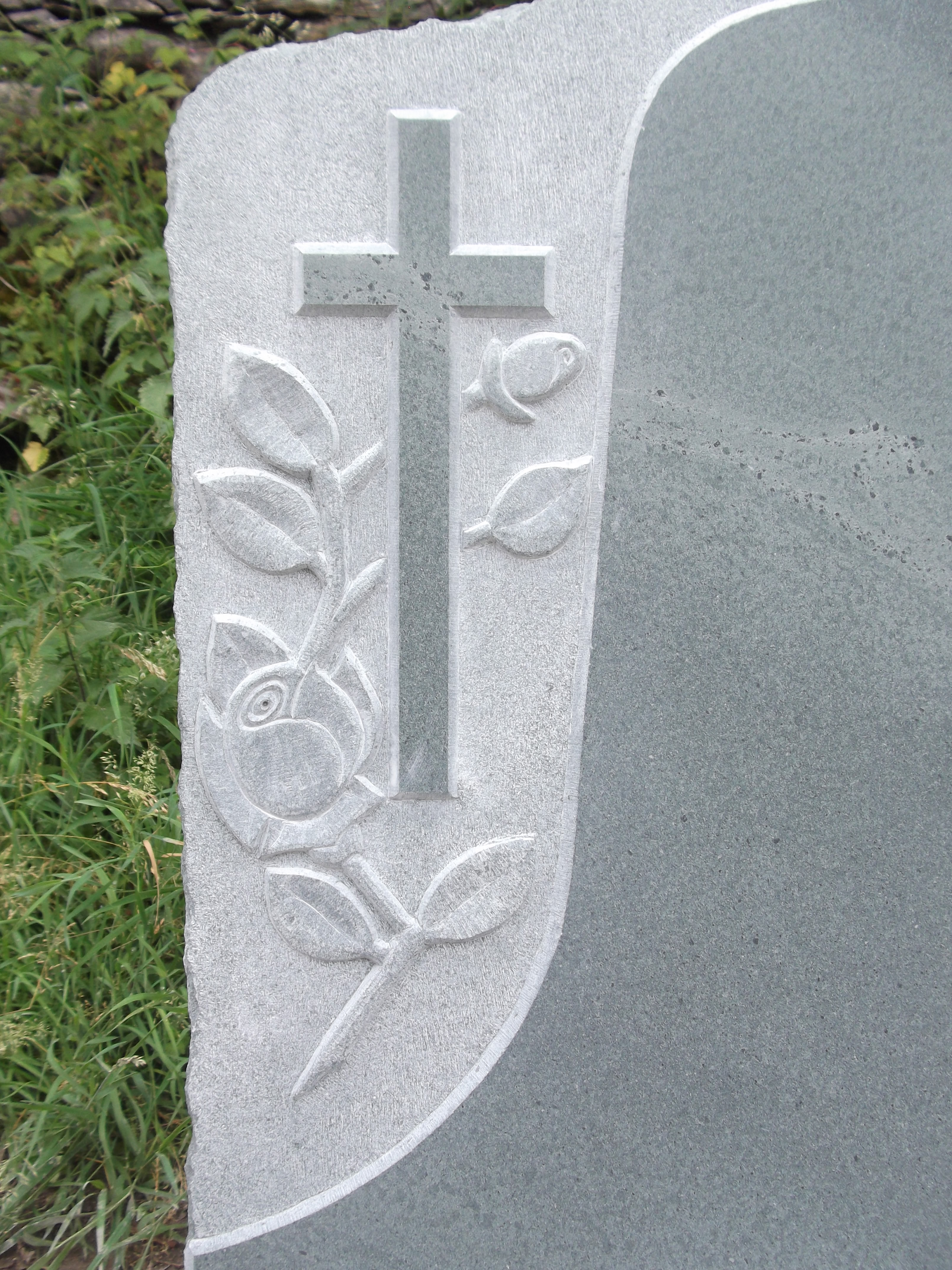 Slate Headstone Embossed with Cross and Roses
