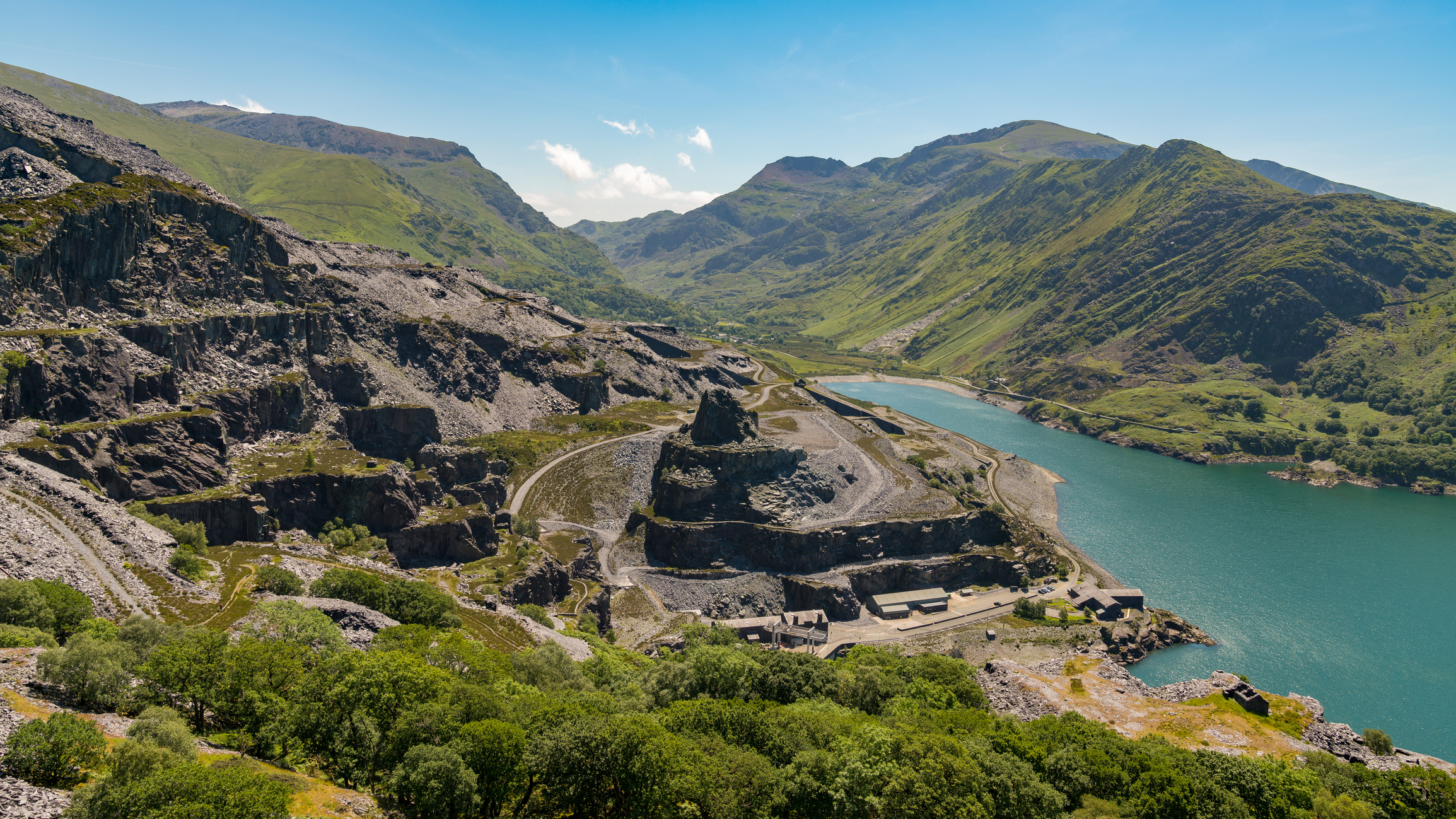 View from Dinorwic Quarry, near Llanberis, Gwynedd, Wales, UK - with Llyn Peris, the Dinorwig Power Station Facilities and Mount Snowdon in the background