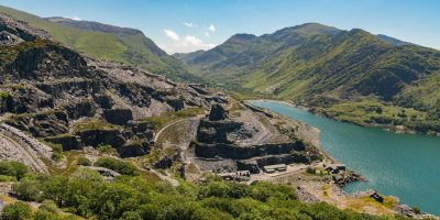 view of a slate quarry in wales